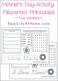 Free Printable Mother's Day Activity Placemats with Two Versions (Cursive and Printing)   RealLifeAtHome.com
