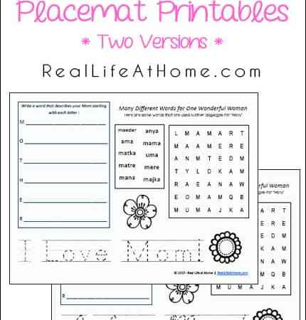 Mother's Day Activity Placemat Free Printables