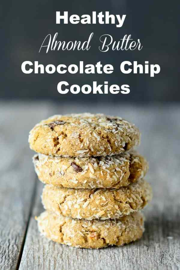 These Healthy Almond Butter Coconut Chocolate Chip Cookies are healthy enough to eat almost everyday.