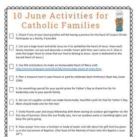 10 June Activities for Catholic Families {Free Printable}