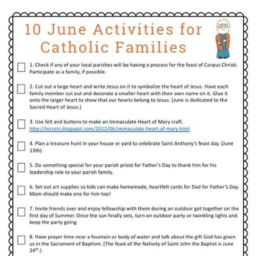 10 June Activities for Catholic Families Free Printable from Real Life at Home