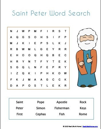 Saint Peter themed 24-page printables and worksheets packet from RealLifeAtHome.com