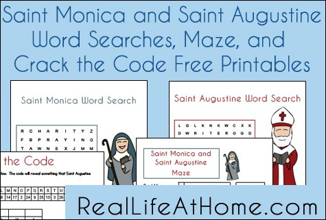 Saint Monica and Saint Augustine Free Printables: Two Word Searches, a Maze, and a Crack the Code Page