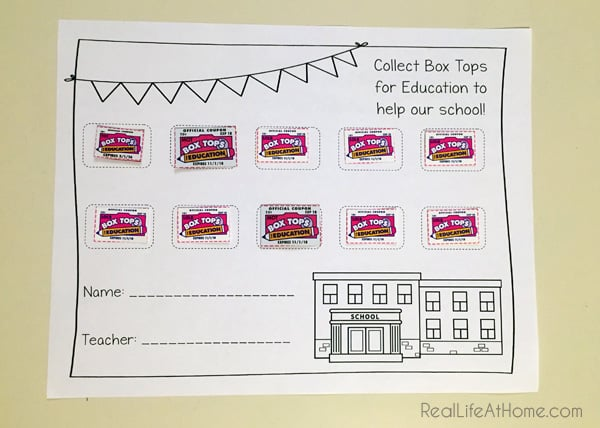 Box Tops for Education Collection Form {Free Printable}