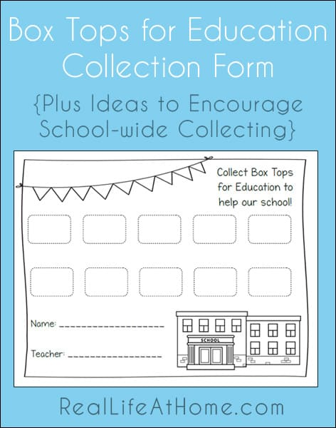 Free Printable Collection Form for Box Tops for Education