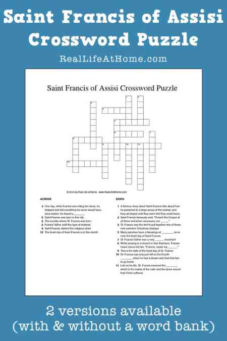 Saint Francis of Assisi Crossword Puzzle Printable for Kids