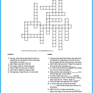 Free Printable Saint Francis of Assisi Crossword Puzzle {Includes two versions with one having a word bank to make it easier}   RealLifeAtHome.com