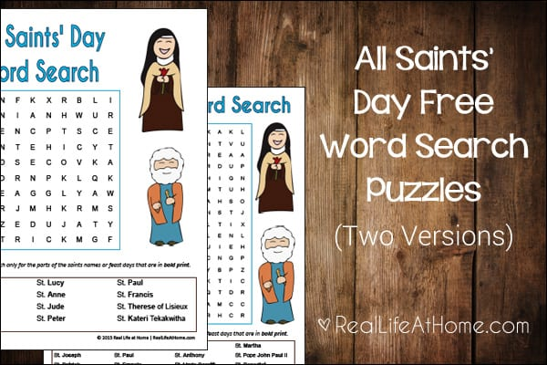 All Saints' Day Word Search for Kids {Free Printable}