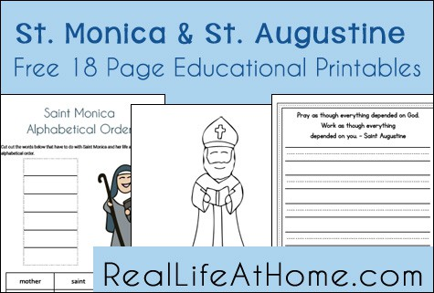 Saint Monica and Saint Augustine Educational Printables