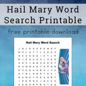 Hail Mary Word Search Free Printable for Kids