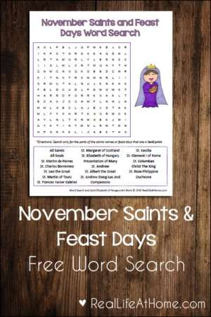 November Saints and Feast Days Free Word Search Printable