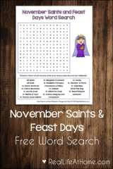 November Saints and Feast Days Word Search Printable