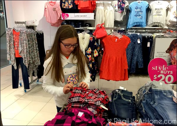 Checking out the tween fashions at Justice