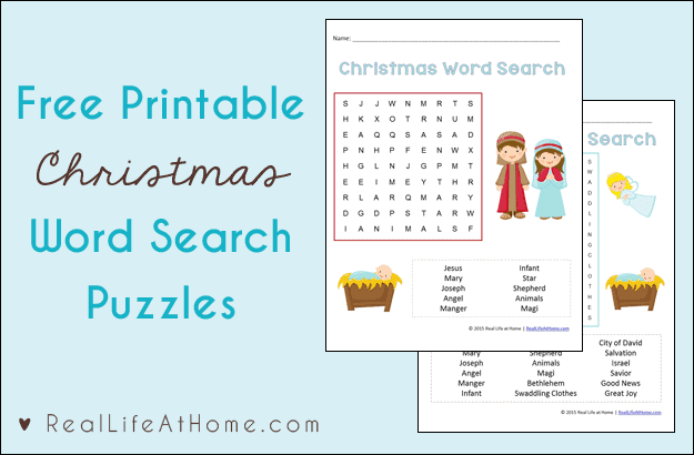 Christmas Word Search for Kids {Free Printables}