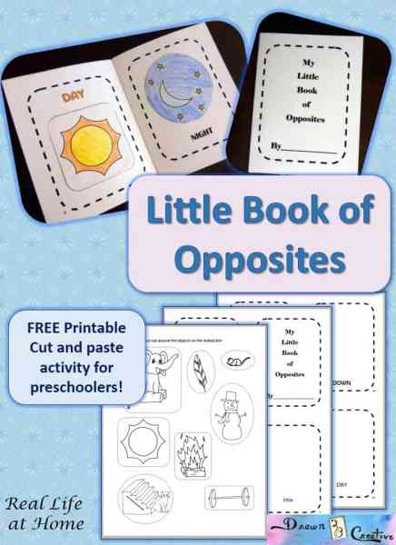 My Little Book of Opposites free printable packet activity for preschoolers