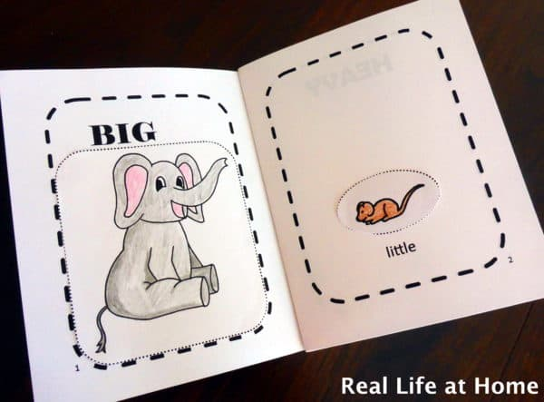 Little book of opposites inside view {My Little Book of Opposites free printable packet activity for preschoolers}