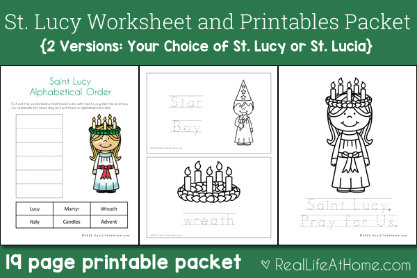 Saint Lucy Printables and Worksheet Packet (with St. Lucia Version)