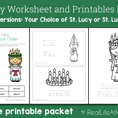 19 page Saint Lucy Printables and Worksheet Packet (also available in a Saint Lucia version)