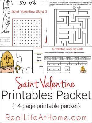 Saint Valentine Printable Packet and Worksheets