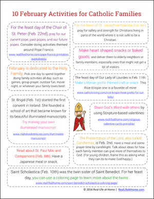 10 February Activities for Catholic Families (This is the newest version of this printable with 10 new activities)