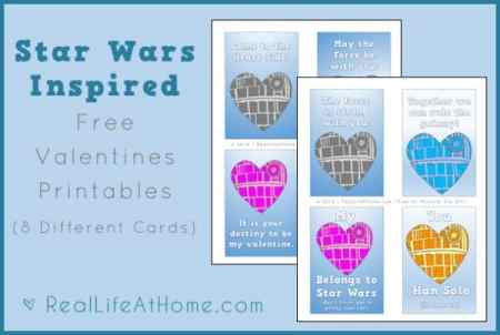 Free printable Star Wars Valentines (which can also be used as lunch box notes) and Star Wars Inspired coloring pages