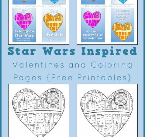 Free Star Wars Valentines, Lunch Box Notes, and Coloring Page Printables