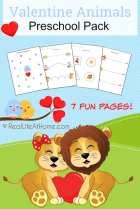 Valentine (Love) Animals Preschool Printable Packet