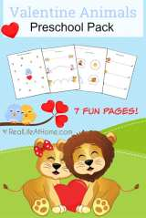 Valentine Animals Printables Packet for Preschoolers
