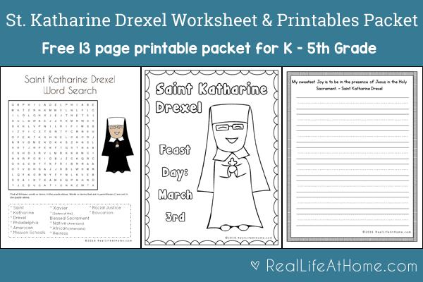 Free 13-page Saint Katharine Drexel Printables and Worksheet Packet