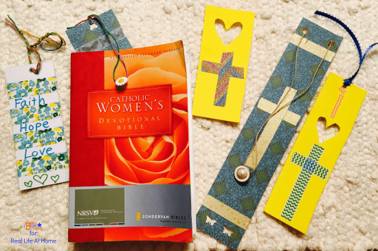 Creative Christian DIY bookmarks using washi tape and other materials that you might already have at home! This post has ideas for design options as well as directions for making the DIY bookmarks.