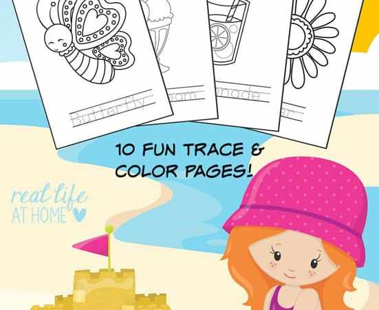 Summer Coloring Pages and Word Tracing Printables