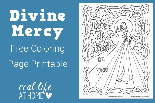 Divine Mercy Coloring Page for Kids {Free Printable, Instant Download}