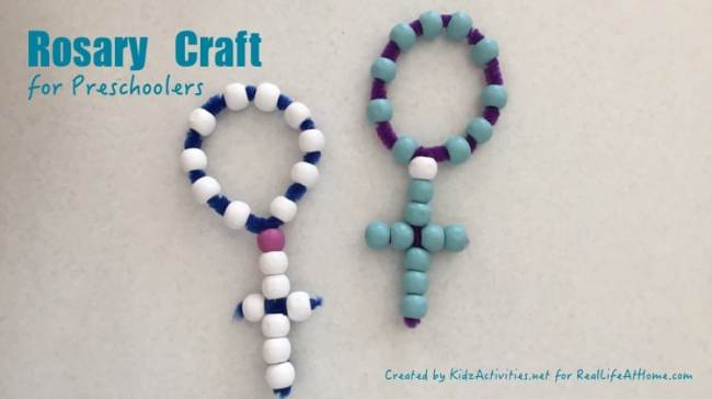 Create this easy and inexpensive Rosary craft with Catholic kids as a way to introduce the basic parts of a Rosary.