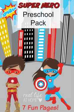 Have a superhero loving preschooler? Enjoy this free superhero printables packet! {instant download, no need to sign up for a mailing list!}