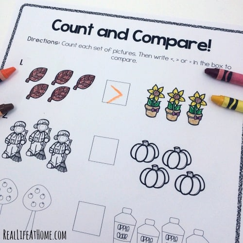 grab this cute set fun math fall worksheets for first grade and kindergarten this set