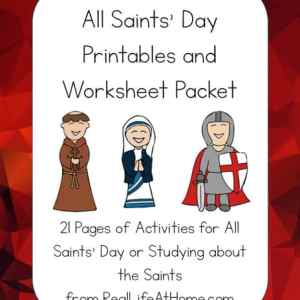 All Saints' Day Printables Packet featuring puzzles, coloring pages, a mini book, and more all about saints | Real Life at Home