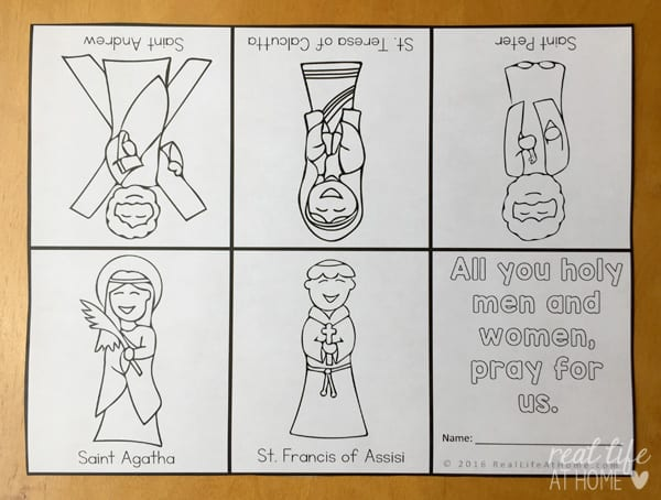 All Saints' Day coloring page cut out to become an All Saints' Day mini book with some simple folding | Real Life at Home