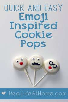Need a quick and easy bake sale treat or something special for a class party that doesn't take a ton of time? These emoji-inspired cookie pops are easy to make but will look like you spent a lot longer working on them. | Real Life at Home