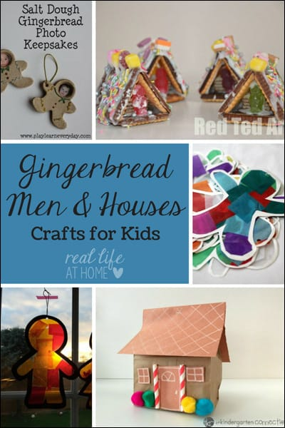 Want some fun gingerbread-themed crafts? Visit for gingerbread men and gingerbread house crafts that kids can make. | Real Life at Home