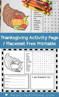 Looking for a fun Thanksgiving activity page or Thanksgiving placemat for kids? This free printable for Thanksgiving can be a great addition to your Thanksgiving gathering or class party! | Real Life at Home