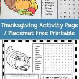 Thanksgiving Activity Page or Placemat Free Printable