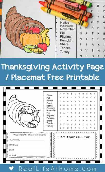 Thanksgiving Activity Page or Placemat for Kids {Free Printable}