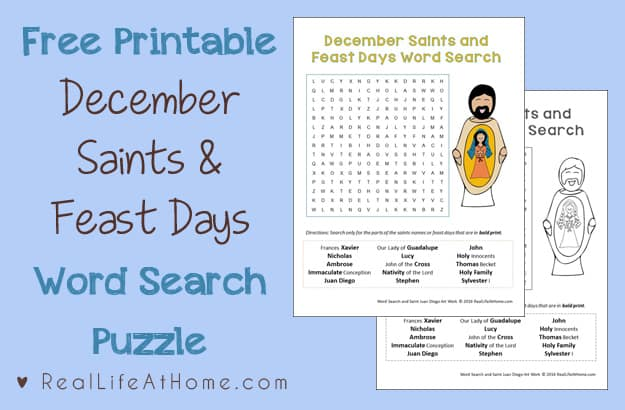 December Saints and Feast Days Word Search Printable