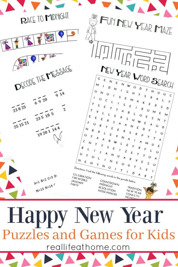 New Year S Games And Puzzles For Kids Printables Packet