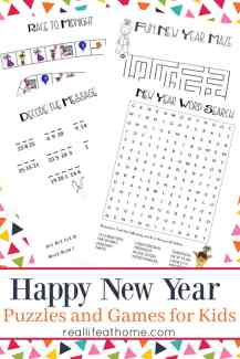 Looking for New Year's activities for a New Year's Eve party or just to enjoy with your kids on New Year's Day? This New Year's Games and Puzzles Printables Packet is free to download and includes lots of fun activities and games for kids.   Real Life at Home