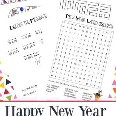 Looking for New Year's activities for a New Year's Eve party or just to enjoy with your kids on New Year's Day? This New Year's Games and Puzzles Printables Packet is free to download and includes lots of fun activities and games for kids. | Real Life at Home