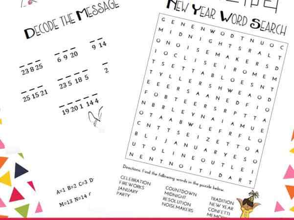 New Year's Games and Puzzles for Kids Printables Packet