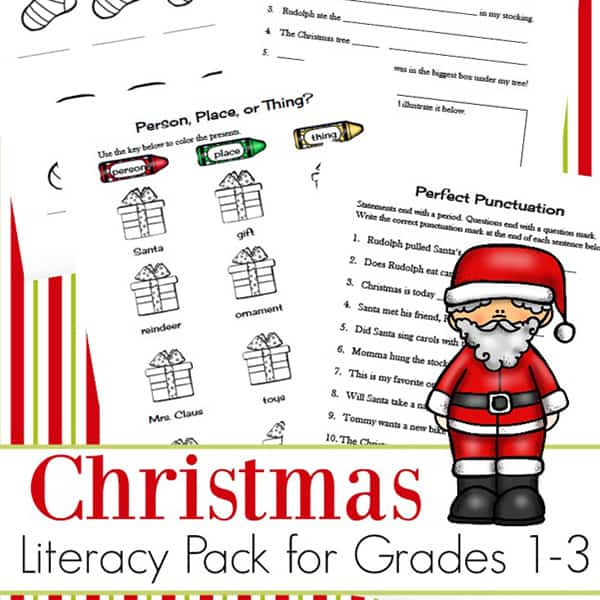 Christmas Language Arts Worksheets Packet for 1st - 3rd Grade