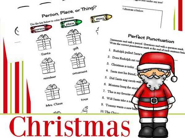 Christmas Language Arts Worksheets Packet for 1st – 3rd Grade