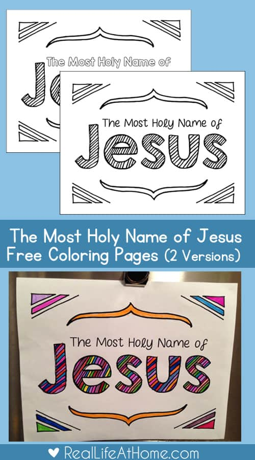 Most Holy Name of Jesus Coloring Page Set